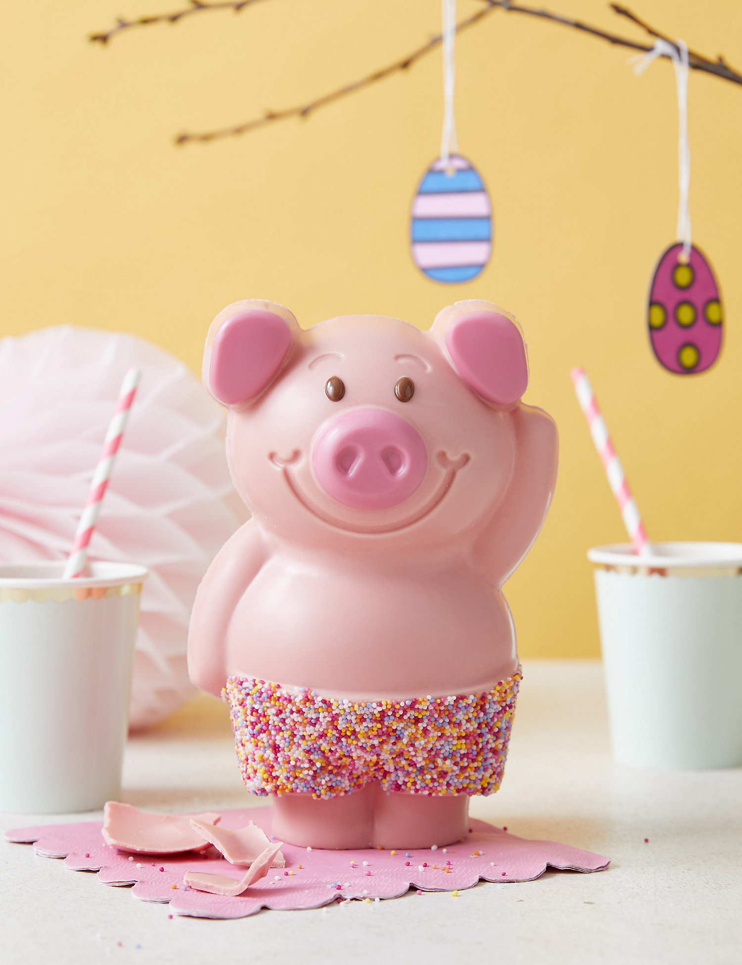 Giant White Chocolate Percy Pig™ with Jazzy Trousers. Image Credit: Marks & Spencer